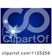 Clipart Of A Blue Christmas Shooting Star Snowflake And Halftone Background Royalty Free Vector Illustration by dero