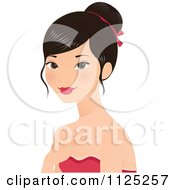 Cartoon Of A Beautiful Asian Woman With Her Hair Up Royalty Free Vector Clipart by Melisende Vector
