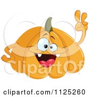 Cartoon Of A Happy Halloween Pumpkin Waving Royalty Free Vector Clipart by yayayoyo