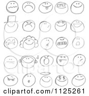 Cartoon Of Black Sketched Emoticon Faces Royalty Free Vector Clipart