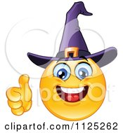 Cartoon Of A Halloween Witch Emoticon Face Holding A Thumb Up Royalty Free Vector Clipart