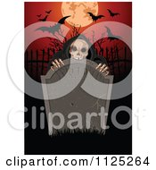 Cartoon Of A Creepy Skeleton Behind A Rip Tombstone With A Full Moon And Bats Royalty Free Vector Clipart by Pushkin