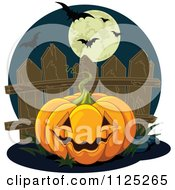 Cartoon Of A Halloween Jackolantern By A Fence Under A Full Moon With Bats Royalty Free Vector Clipart