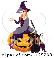 Cartoon Of A Halloween Witch And Her Cat On A Jackolantern Royalty Free Vector Clipart