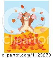 Cartoon Of A Happy Mouse Jumping In Autumn Leaves Royalty Free Vector Clipart by Pushkin
