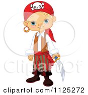 Cartoon Of A Cute Blond Pirate Boy Holding A Sword And Smiling Royalty Free Vector Clipart by Pushkin