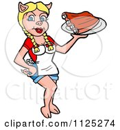 Cartoon Of A Blond Pig Waitress Serving Bbq Ribs Royalty Free Vector Clipart