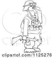 Cartoon Of An Outlined Army Soldier Holding A Gun And Saluting Royalty Free Vector Clipart