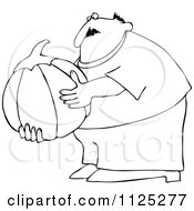 Outlined Chubby Man Holding A Large Halloween Pumpkin
