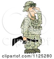 Cartoon Of An Army Soldier Holding A Gun And Saluting Royalty Free Clipart by djart
