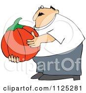 Chubby Man Holding A Large Halloween Pumpkin