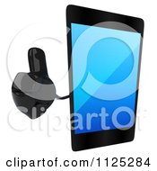 Clipart Of A 3d Smart Touch Screen Cell Phone Character Holding A Thumb Up Royalty Free CGI Illustration