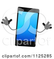 Clipart Of A 3d Smart Touch Screen Cell Phone Character Jumping Royalty Free CGI Illustration