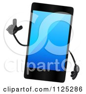 Clipart Of A 3d Smart Touch Screen Cell Phone Character With An Idea Royalty Free CGI Illustration by Julos