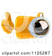 Clipart Of A 3d Yellow Camera Character Holding A Thumb Up Royalty Free CGI Illustration by Julos
