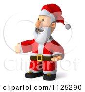 Clipart Of A 3d Christmas Santa Presenting Royalty Free CGI Illustration