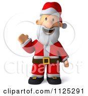 Clipart Of A 3d Christmas Santa Waving Royalty Free CGI Illustration