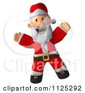Clipart Of A 3d Christmas Santa Jumping Royalty Free CGI Illustration