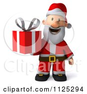 Clipart Of A 3d Christmas Santa Holding A Present Royalty Free CGI Illustration by Julos
