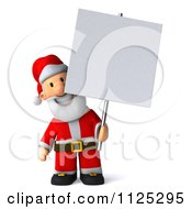 Clipart Of A 3d Christmas Santa Holding A Sign 1 Royalty Free CGI Illustration
