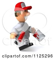 Clipart Of A 3d Toon Guy House Painter Running And Carrying A Brush Royalty Free CGI Illustration by Julos