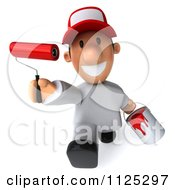 Clipart Of A 3d Toon Guy House Painter Running And Holding Out A Brush Royalty Free CGI Illustration by Julos