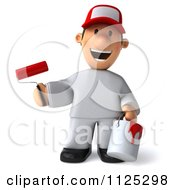 Clipart Of A 3d Toon Guy House Painter Smiling And Holding A Brush Royalty Free CGI Illustration by Julos