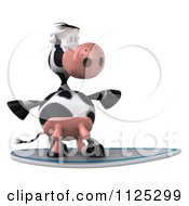 Clipart Of A 3d Cow Surfing 1 Royalty Free CGI Illustration