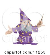 Old Male Wizard Holding A Magic Wand Clipart Illustration