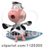 Clipart Of A 3d Cow Surfing 2 Royalty Free CGI Illustration