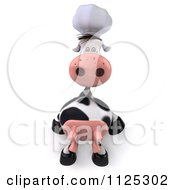 Clipart Of A 3d Chef Cow Sitting On A Ledge Royalty Free CGI Illustration