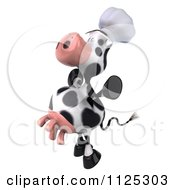 Clipart Of A 3d Chef Cow Jumping Royalty Free CGI Illustration