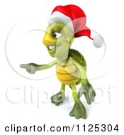 Clipart Of A 3d Christmas Tortoise Wearing A Santa Hat And Pointing Royalty Free CGI Illustration