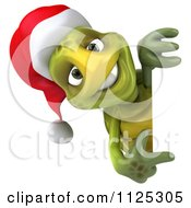 Clipart Of A 3d Christmas Tortoise Wearing A Santa Hat And Pointing To A Sign Royalty Free CGI Illustration