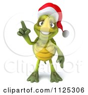 Clipart Of A 3d Christmas Tortoise Wearing A Santa Hat And Holding Up A Finger Royalty Free CGI Illustration