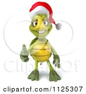 Clipart Of A 3d Christmas Tortoise Wearing A Santa Hat And Holding A Thumb Up 1 Royalty Free CGI Illustration