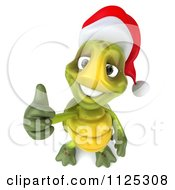 Clipart Of A 3d Christmas Tortoise Wearing A Santa Hat And Holding A Thumb Up 2 Royalty Free CGI Illustration