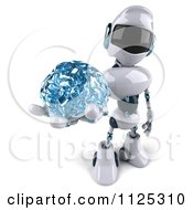 3d Techno Robot Holding A Glass Brain 3