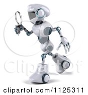 Clipart Of A 3d Techno Robot Using A Magnifying Glass 1 Royalty Free CGI Illustration