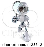 Clipart Of A 3d Techno Robot Using A Magnifying Glass 2 Royalty Free CGI Illustration