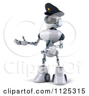 Clipart Of A 3d Techno Robot Police Officer Presenting To The Left Royalty Free CGI Illustration