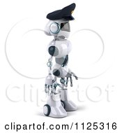 Clipart Of A 3d Techno Robot Police Officer Facing Right Royalty Free CGI Illustration