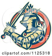 Clipart Of A Retro Medieval Crowned Knight With A Sword In An Orange Ring Royalty Free Vector Illustration by patrimonio