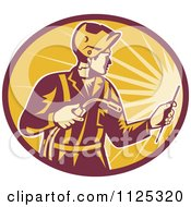 Clipart Of A Retro Worker Using A Welding Torch In A Ray Oval Royalty Free Vector Illustration