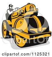 Retro Worker Operating A Road Roller