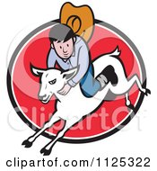 Cartoon Of A Junior Rodeo Cowboy On A Sheep Over A Red Oval Royalty Free Vector Clipart