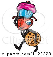 Cartoon Of A Winking Male Ant Carrying A Cookie And Cupcake Royalty Free Vector Clipart
