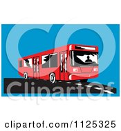 Clipart Of A Red Bus On A Road Over Blue Royalty Free Vector Illustration