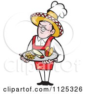 Cartoon Of A Happy Mexican Chef Carrying A Tray With A Taco Burrito And Tortilla Chips Royalty Free Vector Clipart by patrimonio