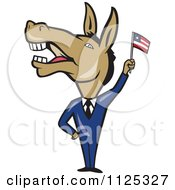 Cartoon Of A Democratic Donkey In A Suit Waving An American Flag Royalty Free Vector Clipart